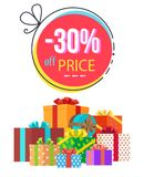 -30 Off Price Discount Vector Illustration. 30 off price discount promotion with gift boxes and sale value in round frame on white background. Vector Royalty Free Stock Photography