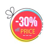 30 Off Price Round Sticker Abstract Bow Discount. 30 off price round sticker abstract bow, discount offer vector illustration in pink and yellow color Royalty Free Stock Photo