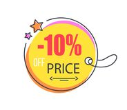 10 Off Price Special Offer Round Promo Sticker. With stars, advertisement logo design with sale proposal vector illustration badge label on lace Royalty Free Stock Photography