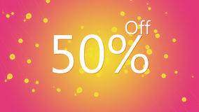 50% off promotional sale offer graphic illustration in pink and orange color background. High resolution 50% off promotional sale graphic illustration. 50% off Stock Images