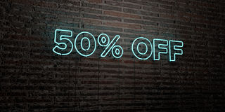 50% OFF -Realistic Neon Sign on Brick Wall background - 3D rendered royalty free stock image. Can be used for online banner ads and direct mailers Stock Photos