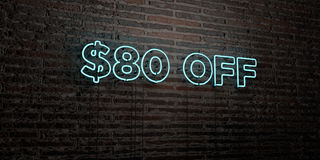 $80 OFF -Realistic Neon Sign on Brick Wall background - 3D rendered royalty free stock image. Can be used for online banner ads and direct mailers Vector Illustration