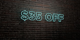 $35 OFF -Realistic Neon Sign on Brick Wall background - 3D rendered royalty free stock image. Can be used for online banner ads and direct mailers Stock Photography