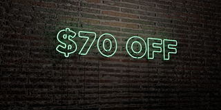 $70 OFF -Realistic Neon Sign on Brick Wall background - 3D rendered royalty free stock image. Can be used for online banner ads and direct mailers Royalty Free Stock Image