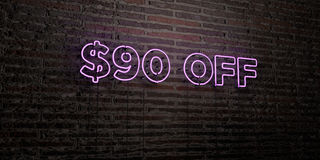 $90 OFF -Realistic Neon Sign on Brick Wall background - 3D rendered royalty free stock image. Can be used for online banner ads and direct mailers royalty free illustration