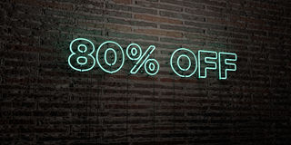 80% OFF -Realistic Neon Sign on Brick Wall background - 3D rendered royalty free stock image. Can be used for online banner ads and direct mailers Royalty Free Stock Photography
