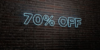 70% OFF -Realistic Neon Sign on Brick Wall background - 3D rendered royalty free stock image. Can be used for online banner ads and direct mailers vector illustration