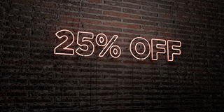 25% OFF -Realistic Neon Sign on Brick Wall background - 3D rendered royalty free stock image Stock Images