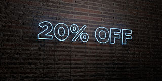 20% OFF -Realistic Neon Sign on Brick Wall background - 3D rendered royalty free stock image. Can be used for online banner ads and direct mailers vector illustration