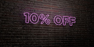 10% OFF -Realistic Neon Sign on Brick Wall background - 3D rendered royalty free stock image. Can be used for online banner ads and direct mailers royalty free illustration