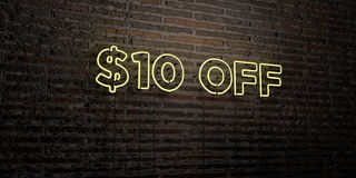 $10 OFF -Realistic Neon Sign on Brick Wall background - 3D rendered royalty free stock image. Can be used for online banner ads and direct mailers vector illustration