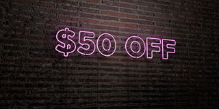 $50 OFF -Realistic Neon Sign on Brick Wall background - 3D rendered royalty free stock image. Can be used for online banner ads and direct mailers Vector Illustration