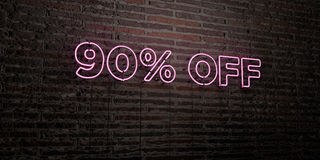 90% OFF -Realistic Neon Sign on Brick Wall background - 3D rendered royalty free stock image. Can be used for online banner ads and direct mailers vector illustration