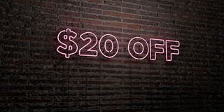 $20 OFF -Realistic Neon Sign on Brick Wall background - 3D rendered royalty free stock image. Can be used for online banner ads and direct mailers stock illustration