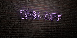 15% OFF -Realistic Neon Sign on Brick Wall background - 3D rendered royalty free stock image. Can be used for online banner ads and direct mailers Stock Photo