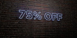 75% OFF -Realistic Neon Sign on Brick Wall background - 3D rendered royalty free stock image Stock Image