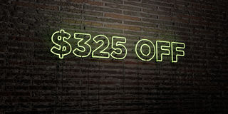 $325 OFF -Realistic Neon Sign on Brick Wall background - 3D rendered royalty free stock image. Can be used for online banner ads and direct mailers vector illustration