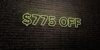 $775 OFF -Realistic Neon Sign on Brick Wall background - 3D rendered royalty free stock image. Can be used for online banner ads and direct mailers royalty free illustration