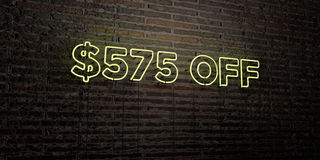 $575 OFF -Realistic Neon Sign on Brick Wall background - 3D rendered royalty free stock image. Can be used for online banner ads and direct mailers stock illustration