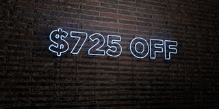 $725 OFF -Realistic Neon Sign on Brick Wall background - 3D rendered royalty free stock image. Can be used for online banner ads and direct mailers Stock Photography