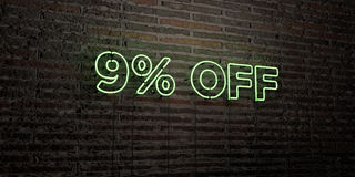 9% OFF -Realistic Neon Sign on Brick Wall background - 3D rendered royalty free stock image. Can be used for online banner ads and direct mailers royalty free illustration
