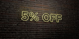 5% OFF -Realistic Neon Sign on Brick Wall background - 3D rendered royalty free stock image. Can be used for online banner ads and direct mailers vector illustration