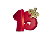 15% off in Red and gold. 3D Numbers isolated on white background Royalty Free Stock Photos