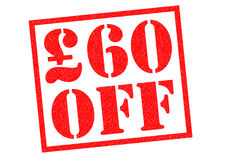 £60 OFF. £60 OFF red Rubber Stamp over a white background Royalty Free Stock Photo