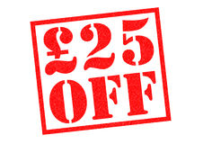 £25 OFF. Red Rubber Stamp over a white background Stock Images
