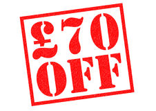 £70 OFF. Red Rubber Stamp over a white background Royalty Free Stock Photo