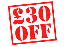 £30 off. Red Rubber Stamp over a white background Stock Photos