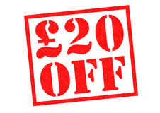 £20 off. £20 OFF red rubber Stamp over a white background Royalty Free Stock Images