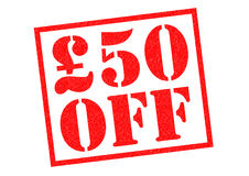 £50 OFF. £50 OFF red Rubber Stamp over a white background Stock Photography