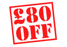 £80 OFF. Red Rubber Stamp over a white background Stock Photo