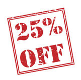 25% off red stamp. On white background Royalty Free Stock Photography