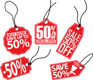 50% off red tag set,  illustration. 50% off tag set,  illustration Royalty Free Stock Photography