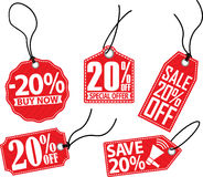 20% off red tag set, vector illustration Stock Photos