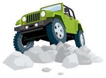 Off-Road. Vehicle over a heap of stones. No transparency and gradients used stock illustration