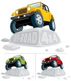 Off-Road 4x4. Off-road vehicle parked on a boulder. You can replace the carved text with your own text. The vehicle is in 3 color versions. Pick the one that Stock Photos