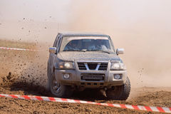 Auto rally raid 4X4 sprint race. Offroad auto rally raid in dirt Royalty Free Stock Images