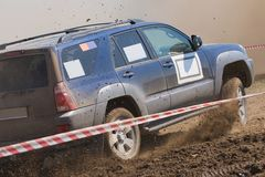 Off road auto rally raid 4X4 sprint race. Royalty Free Stock Image