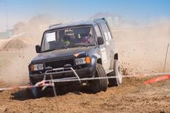 Off road auto rally raid 4X4 sprint race. Stock Photo