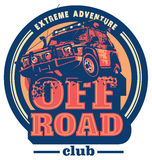 Off-road autoembleem, safari suv, expeditie offroader royalty-vrije illustratie