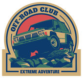 Off-road autoembleem, safari suv, expeditie offroader vector illustratie