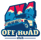 Off-road autoembleem, safari suv, expeditie offroader stock illustratie