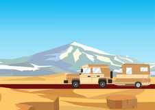 Off road automobile with trailer, desert mountains in the background Stock Images
