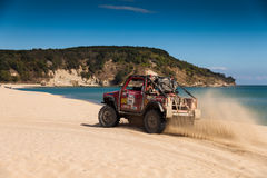Off-road beach. Racing car from Breslau Balkan 2013 sandy beaches Kara Dere, Bulgaria stock photography