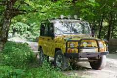 Off-road car. Russian off-road car on the forest road Stock Photo
