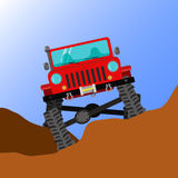 Off-road car. Modified off-road car running through rough terrain, front view royalty free illustration