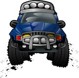 OFF ROAD CAR. An off-road vehicle jumping over the air with grunge mud effect burst out of the wheel Royalty Free Stock Photo